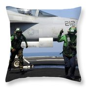 Aviation Boatswain Mates Signal A Clear Throw Pillow