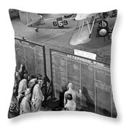 Aviation Cadets Check Flight Boards Throw Pillow