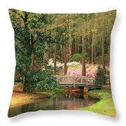 Azaleas And Footbridge Throw Pillow