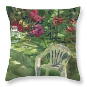 Azaleas And Lawn Chairs Throw Pillow