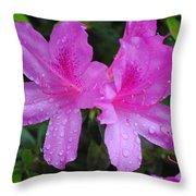 Azalea's In Spring Rain #1 Throw Pillow