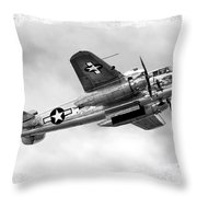 B25 In Flight Throw Pillow by Greg Fortier