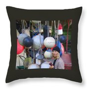 Babe With The Buoys Throw Pillow