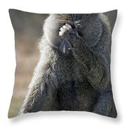 Baboon With Headache Throw Pillow