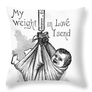 Baby Being Weighed, 1887 Throw Pillow