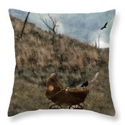 Baby Buggy In Wilderness Throw Pillow