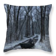 Baby Buggy On Creepy Path Throw Pillow