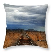 Baby Buggy On Railroad Tracks Throw Pillow