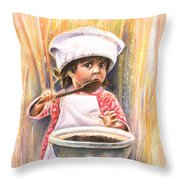 Baby Cook With Chocolade Cream Throw Pillow