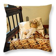 Baby Doll In Crib Throw Pillow