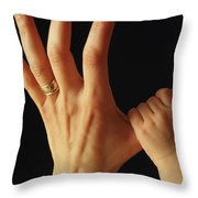 Baby Grasps Mothers Hand Throw Pillow
