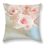 Baby Pink Roses Throw Pillow by Lyn Randle