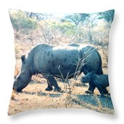 Baby Rhinoceros And Mother Throw Pillow