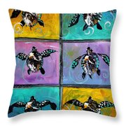 Baby Sea Turtles Six Throw Pillow