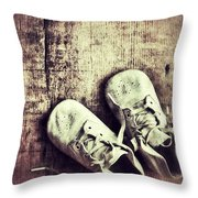 Baby Shoes On Wood Throw Pillow