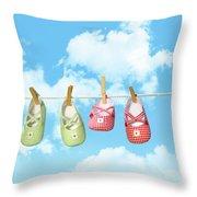 Baby Shoesr And Teddy Bear On Clothline Throw Pillow