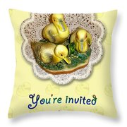 Baby Shower Invitation - Yellow Ducklings Figurine Throw Pillow