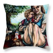 Baby's First Picnic Throw Pillow