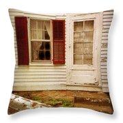 Back Door Of Old Farmhouse Throw Pillow