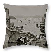 Back Door Of Venice Throw Pillow