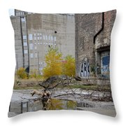 Back Of Warehouse Loading Dock 2 Throw Pillow