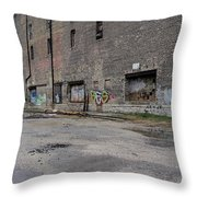 Back Of Warehouse Loading Dock Throw Pillow