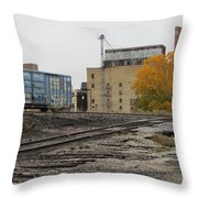 Back Of Warehouse Train 2 Throw Pillow