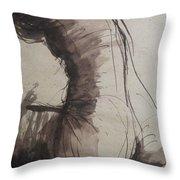 Back Torso - Sketch Of A Female Nude Throw Pillow