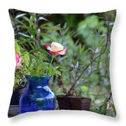Back Yard Roses Throw Pillow