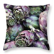 Background Of Artichokes Throw Pillow by Jane Rix