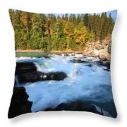 Backguard Falls On Fraser River In British Columbia Throw Pillow by Mark Duffy