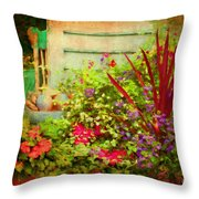 Backyard Flower Garden Throw Pillow
