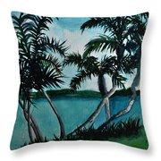 Backyard Palms Throw Pillow