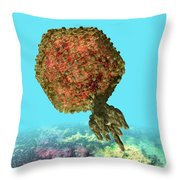 Bacteriophage P22 Throw Pillow by Russell Kightley