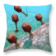 Bacteriophage T4 Virus Group 1 Throw Pillow by Russell Kightley