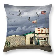 Bait Shop By Aransas Pass In Texas Throw Pillow