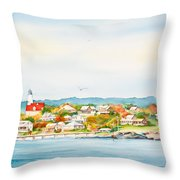 Bakers Island Lighthouse In Autumn Watercolor Painting Throw Pillow