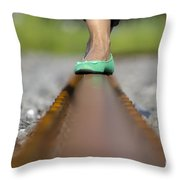 Balance With Her Feet Throw Pillow