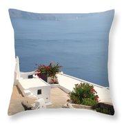 Balcony Oia Santorini Greek Islands Throw Pillow