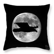 Bald Eagle Moon Throw Pillow