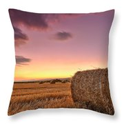 Bales At Twilight Throw Pillow by Evgeni Dinev