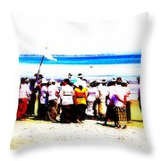 Balinese Beach In Mourning Throw Pillow