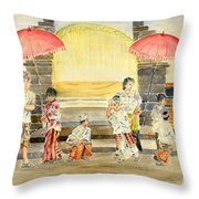 Balinese Children In Traditional Clothing Throw Pillow