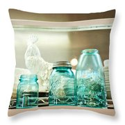 Ball Jars And White Rooster Throw Pillow