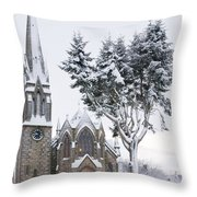 Ballater Church In Snow Throw Pillow