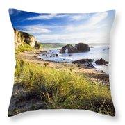 Ballintoy, County Antrim, Ireland Beach Throw Pillow