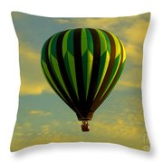 Balloon Ride Through Gold Clouds Throw Pillow