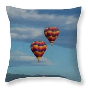 Balloons Over The Rockies Painterly Throw Pillow