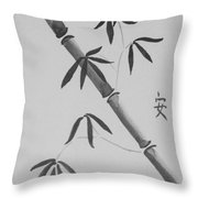 Bamboo Art In Black And White Throw Pillow