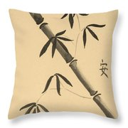 Bamboo Art In Sepia Throw Pillow
